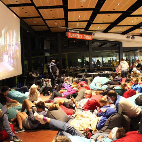 After the challenge in Blue Mountains, Ultra Trail Australia, the runners had lounge in bean bags